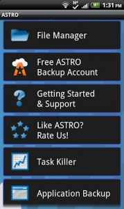 ASTRO File Manager main